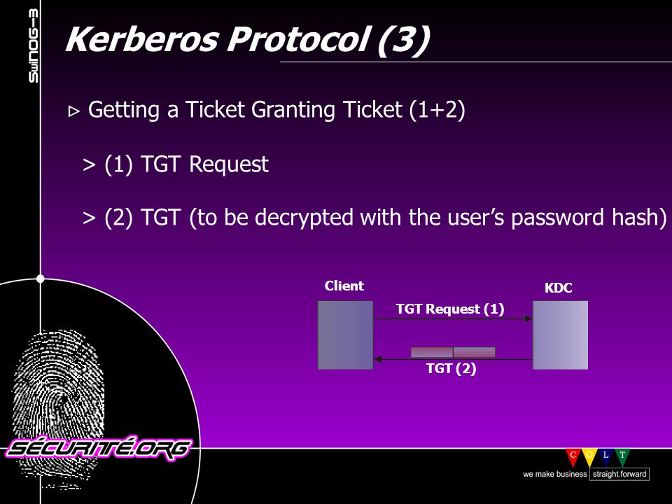 Kerberos Protocol (3) Getting a Ticket Granting Ticket (1+2) > (1) TGT Request > (2) TGT (to be decrypted with the users password hash) © 2001 Sécurité.Org Client KDC TGT Request (1) TGT (2)