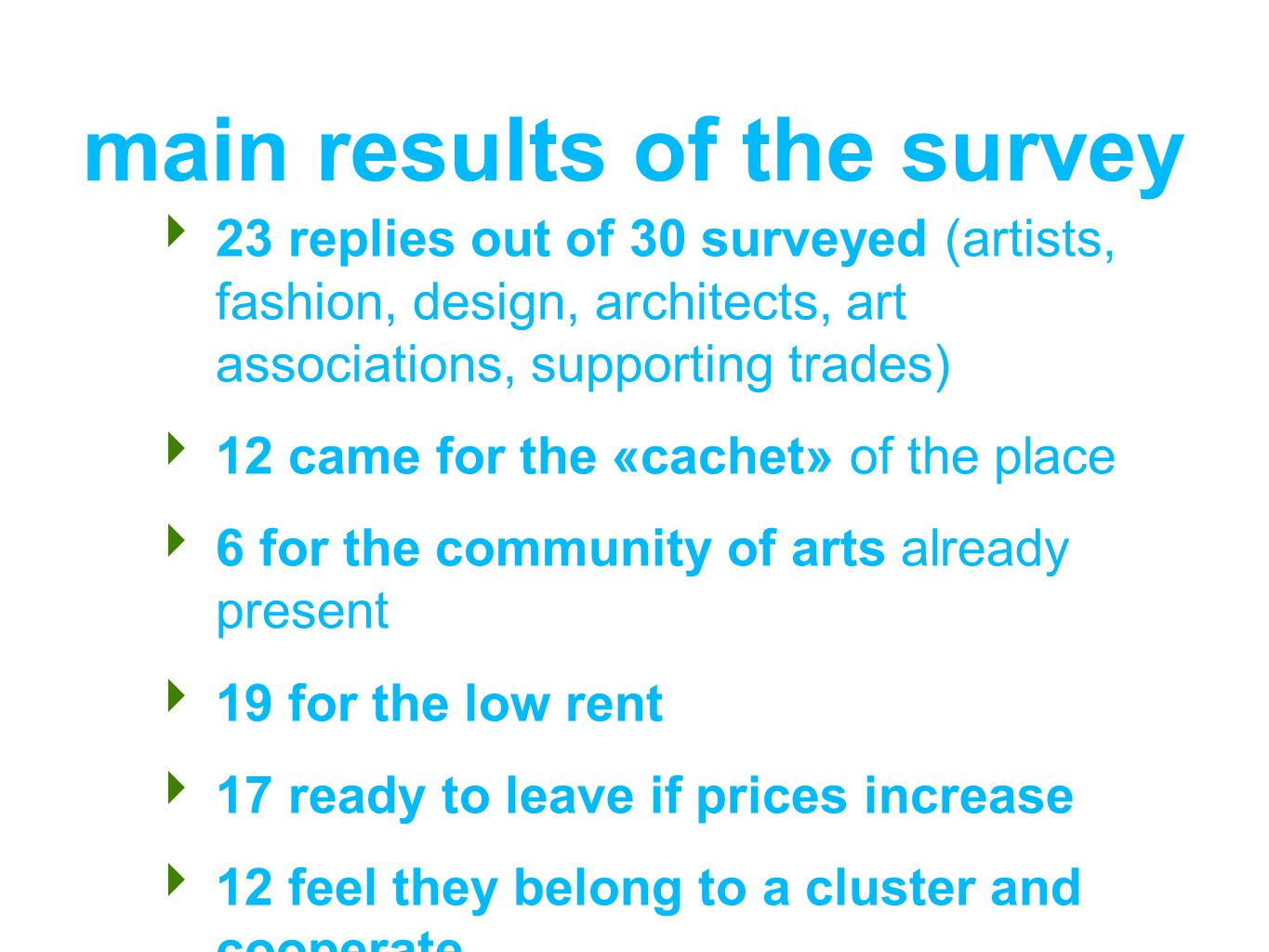 main results of the survey 23 replies out of 30 surveyed (artists, fashion, design, architects, art associations, supporting trades) 12 came for the «cachet» of the place 6 for the community of arts already present 19 for the low rent 17 ready to leave if prices increase 12 feel they belong to a cluster and cooperate
