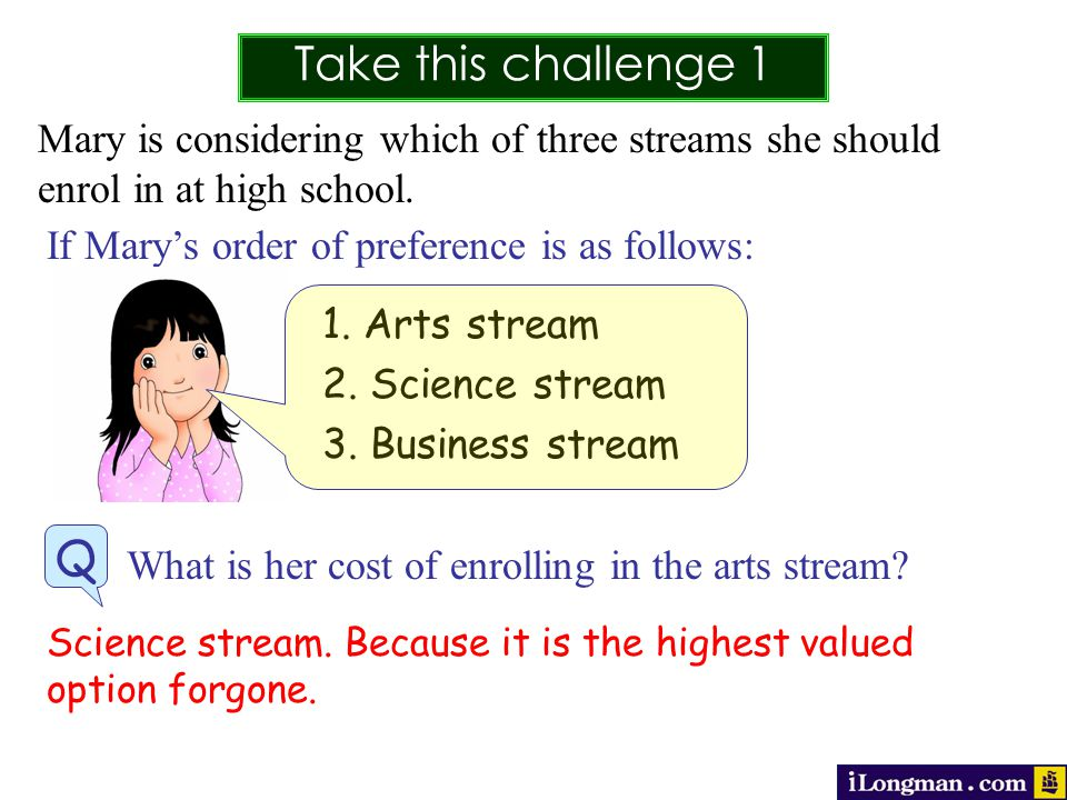 Take this challenge 1 Q Mary is considering which of three streams she should enrol in at high school.