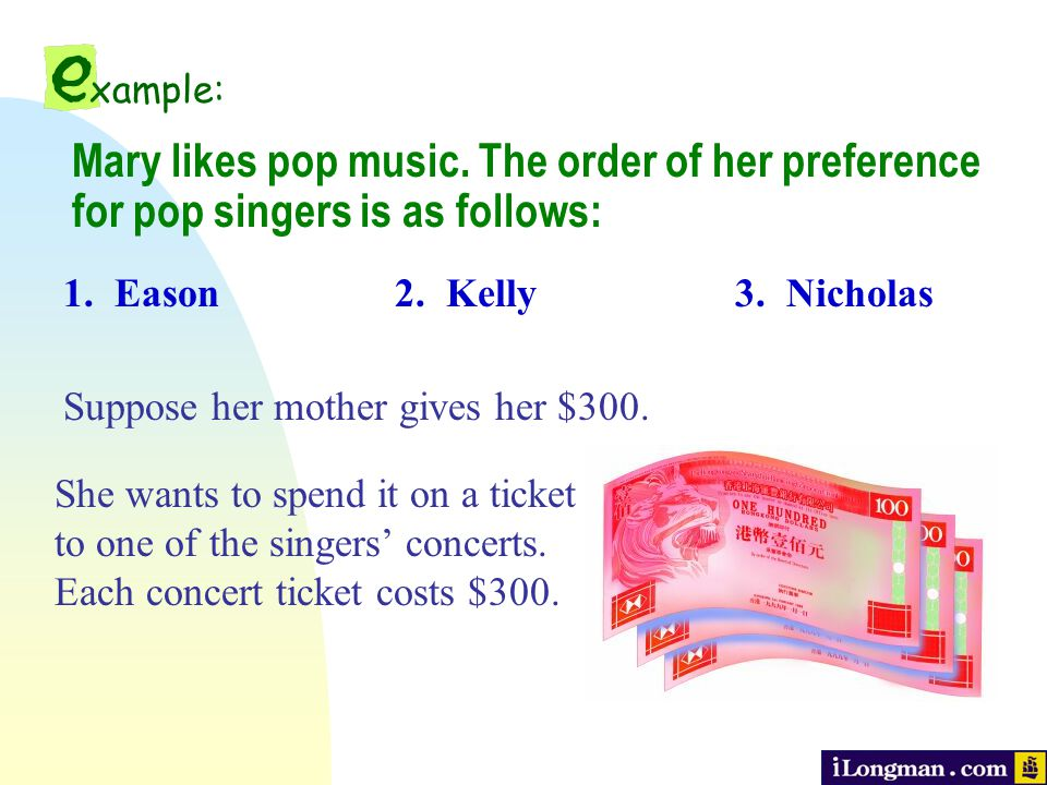 1. Eason Mary likes pop music. The order of her preference for pop singers is as follows: 2.