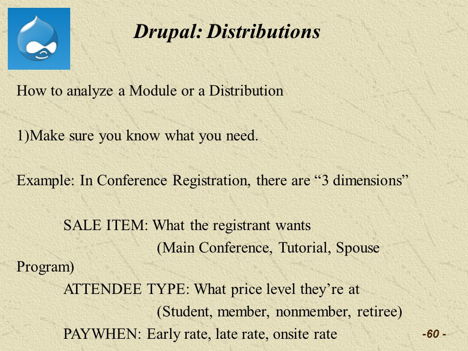 -60 - Drupal: Distributions How to analyze a Module or a Distribution 1)Make sure you know what you need.