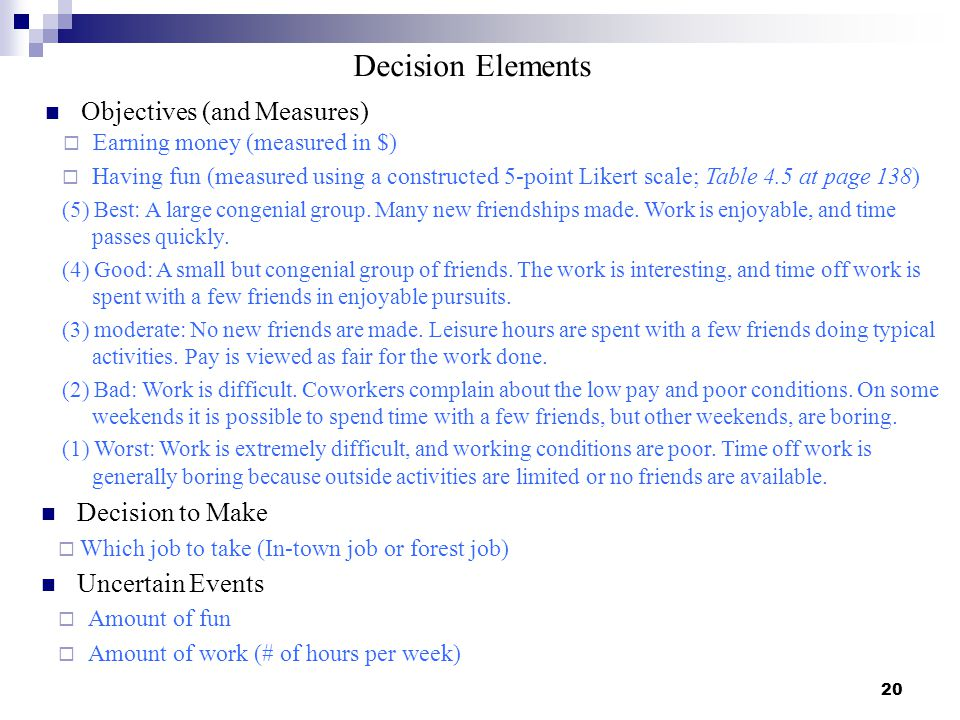 20 Objectives (and Measures) Having fun (measured using a constructed 5-point Likert scale; Table 4.5 at page 138) (5) Best: A large congenial group.