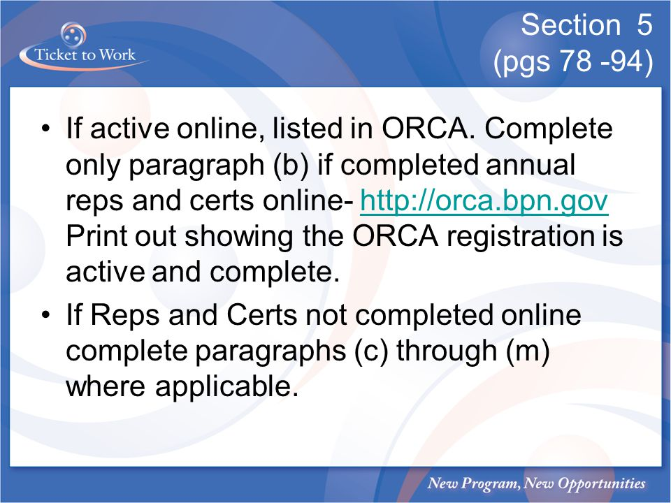 Section 5 (pgs 78 -94) If active online, listed in ORCA.