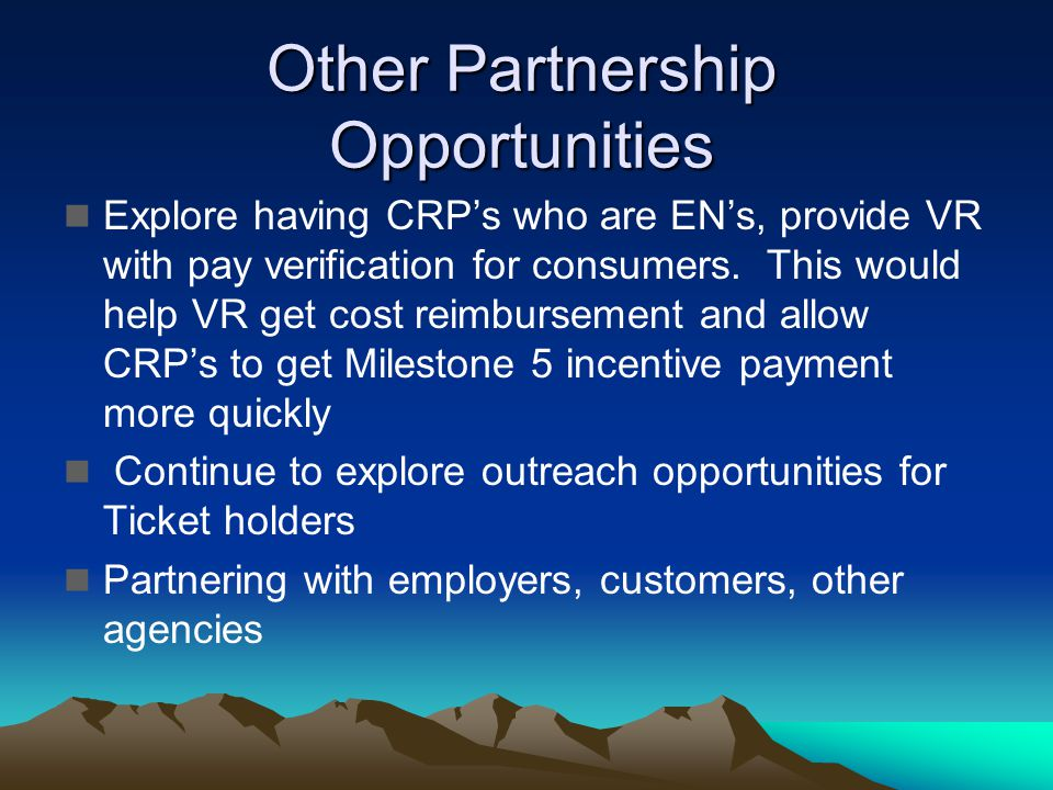 Other Partnership Opportunities Explore having CRPs who are ENs, provide VR with pay verification for consumers. This would help VR get cost reimburse