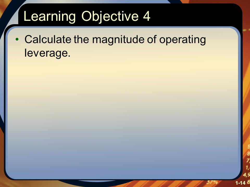 1-14 Learning Objective 4 Calculate the magnitude of operating leverage.