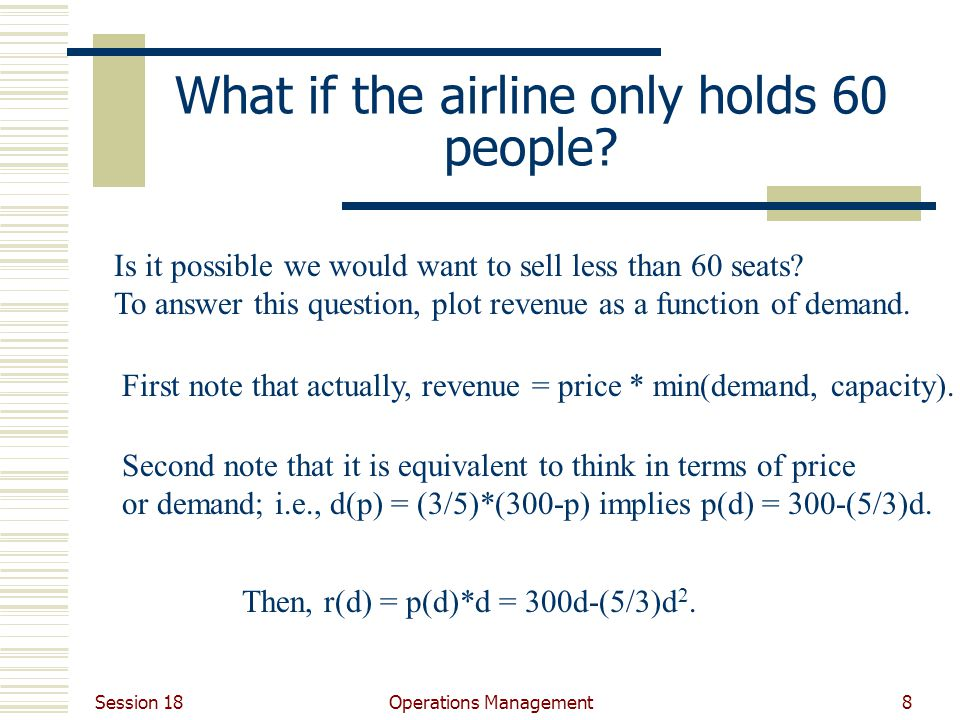 Session 18 Operations Management8 What if the airline only holds 60 people.