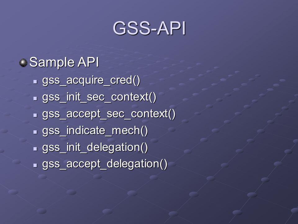 GSS-API Sample API gss_acquire_cred() gss_acquire_cred() gss_init_sec_context() gss_init_sec_context() gss_accept_sec_context() gss_accept_sec_context() gss_indicate_mech() gss_indicate_mech() gss_init_delegation() gss_init_delegation() gss_accept_delegation() gss_accept_delegation()
