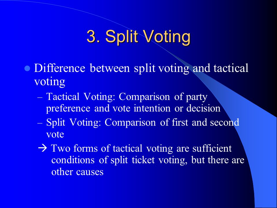 3. Split Voting Difference between split voting and tactical voting – Tactical Voting: Comparison of party preference and vote intention or decision –