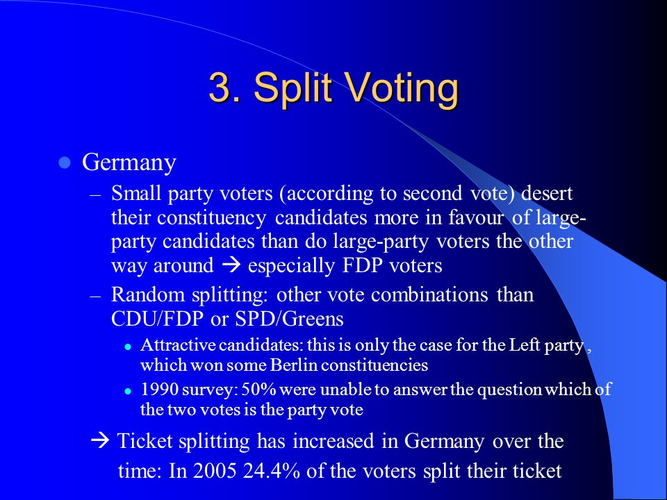 3. Split Voting Germany – Small party voters (according to second vote) desert their constituency candidates more in favour of large- party candidates