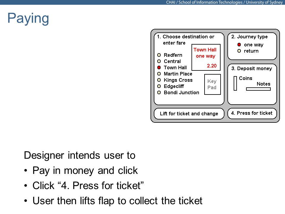 25 Paying Designer intends user to Pay in money and click Click 4.