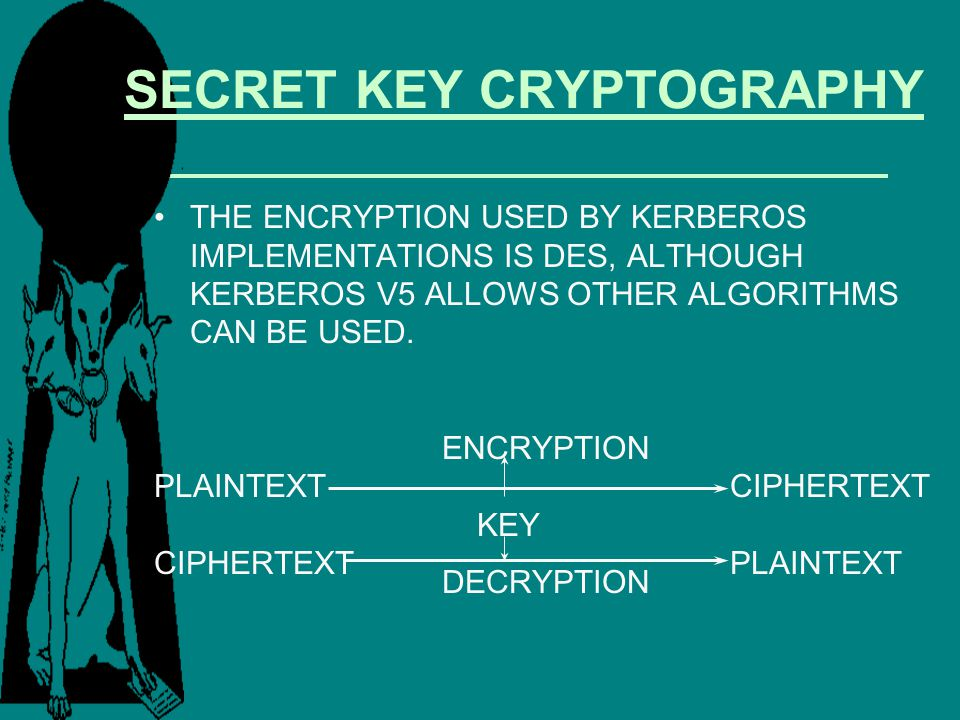SECRET KEY CRYPTOGRAPHY THE ENCRYPTION USED BY KERBEROS IMPLEMENTATIONS IS DES, ALTHOUGH KERBEROS V5 ALLOWS OTHER ALGORITHMS CAN BE USED. ENCRYPTION P