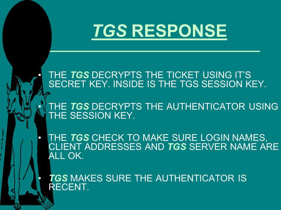 TGS RESPONSE THE TGS DECRYPTS THE TICKET USING ITS SECRET KEY. INSIDE IS THE TGS SESSION KEY. THE TGS DECRYPTS THE AUTHENTICATOR USING THE SESSION KEY