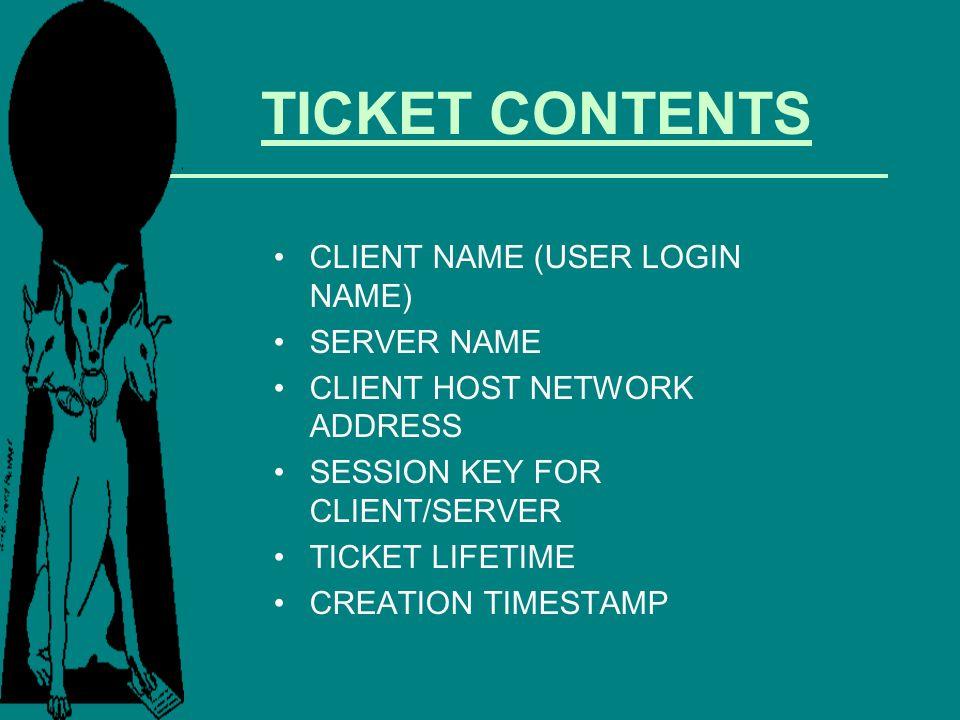 TICKET CONTENTS CLIENT NAME (USER LOGIN NAME) SERVER NAME CLIENT HOST NETWORK ADDRESS SESSION KEY FOR CLIENT/SERVER TICKET LIFETIME CREATION TIMESTAMP