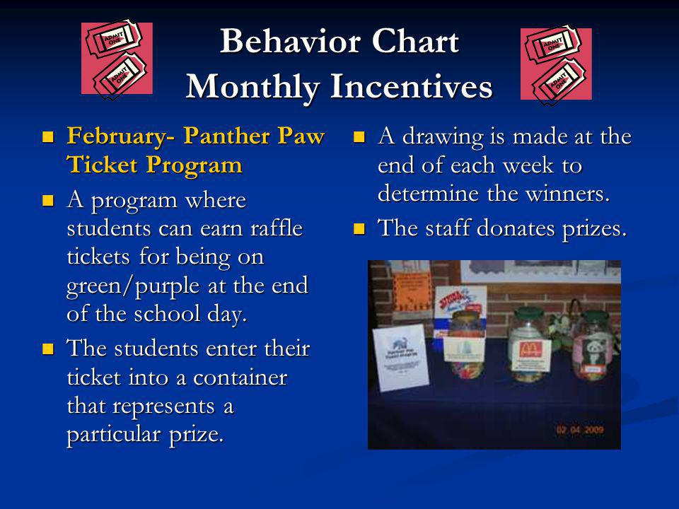 Behavior Chart Monthly Incentives February- Panther Paw Ticket Program February- Panther Paw Ticket Program A program where students can earn raffle t
