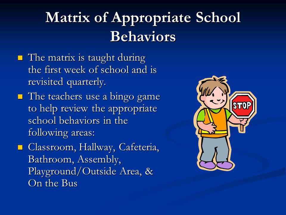 Matrix of Appropriate School Behaviors The matrix is taught during the first week of school and is revisited quarterly. The matrix is taught during th