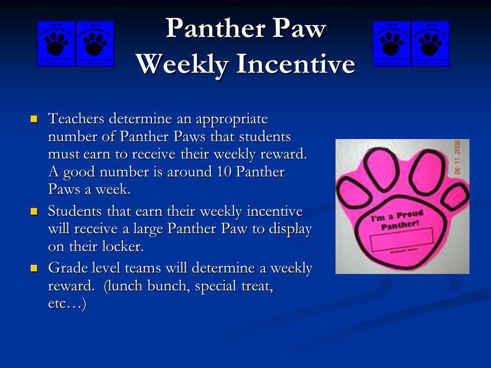 Panther Paw Weekly Incentive Teachers determine an appropriate number of Panther Paws that students must earn to receive their weekly reward. A good n