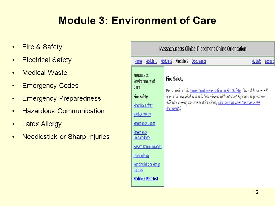 12 Module 3: Environment of Care Fire & Safety Electrical Safety Medical Waste Emergency Codes Emergency Preparedness Hazardous Communication Latex Al