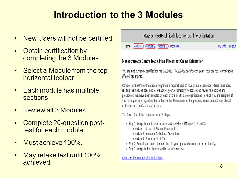 9 Module 1: Basics of Student Placements Student Role & Responsibility Patient Rights Patient Confidentiality & HIPAA Education Providing Culturally Competent Care Detecting and Reporting Abuse Workforce Violence National Patient Safety Goals Providing Population Competent Care Documentation After reading all sections, click on Post-test link for post-test.