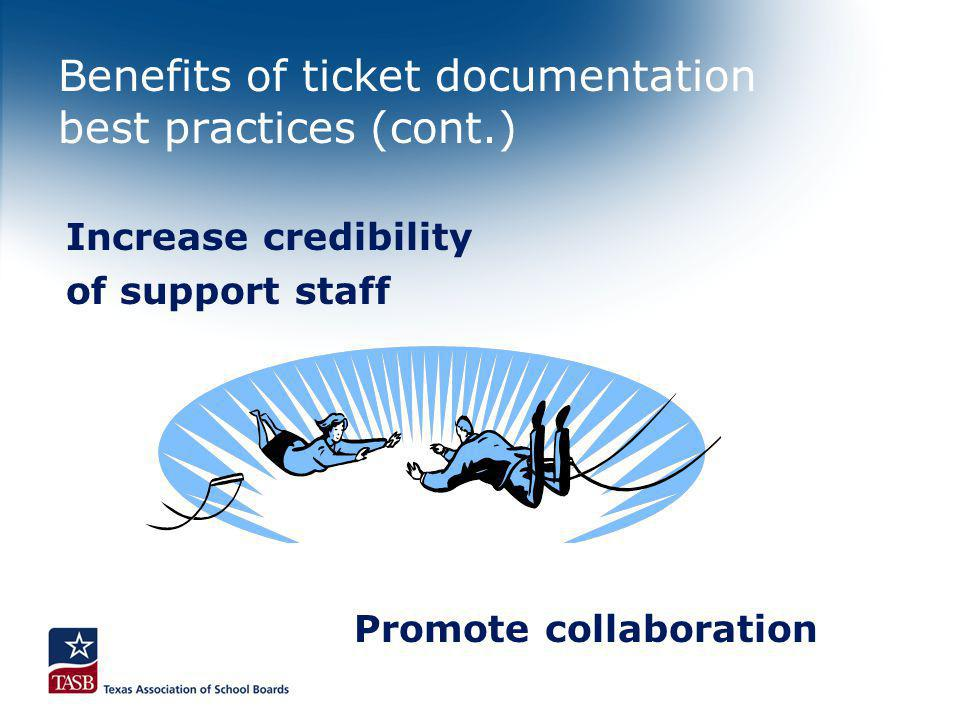 Benefits of ticket documentation best practices (cont.) Promote collaboration Increase credibility of support staff