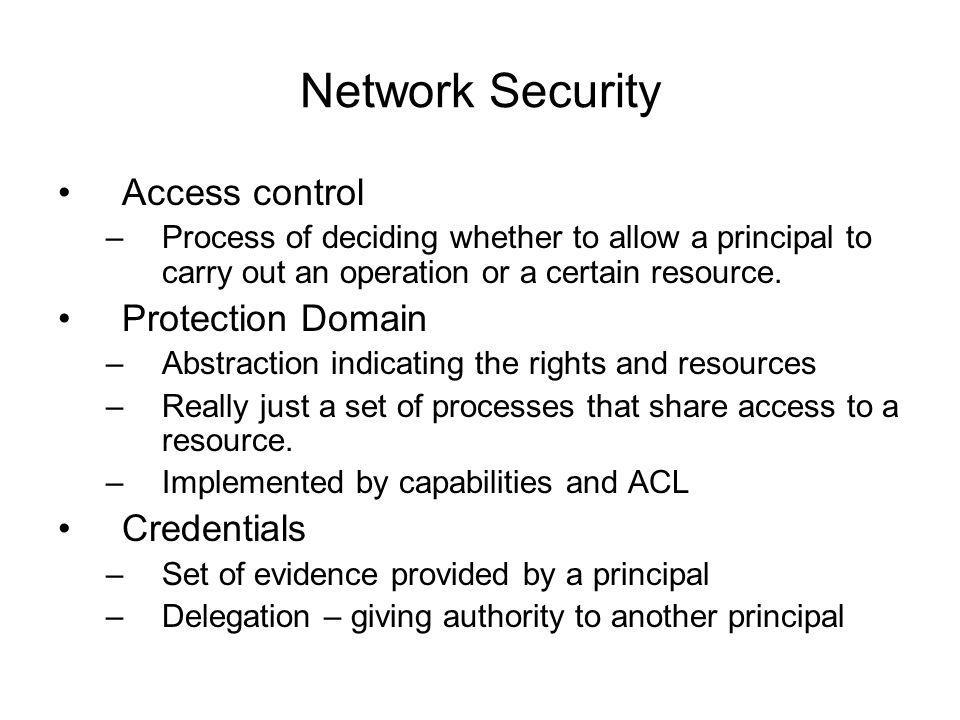 Network Security Access control –Process of deciding whether to allow a principal to carry out an operation or a certain resource.