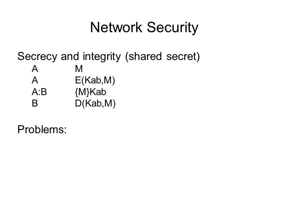 Network Security Kerberos -MIT extension of N&S 1.C:A C,T,n 2.A:C {Kct,n}Kc, {ticket(C,T)}Kt {ticket(C,T)}Kt = {C,T,t1,t2,Kct}Kt 3.C:T{auth(C)}Kct, {ticket(C,T)}Kt, S, n {auth(C)}Kct = {C,t}Kct 4.T:C {Kcs,n}Kct, {ticket(C,S)}Ks 5.C:S{auth(C)}Kcs, {(ticket(C,S)}Ks, request, n 6.S:C {n}Kcs, reply