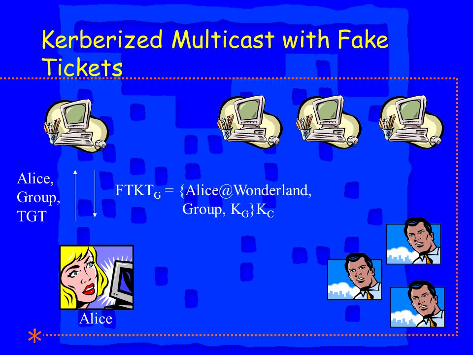 Kerberized Multicast with Fake Tickets Alice, Group, TGT FTKT G = {Alice@Wonderland, Group, K G }K C Alice