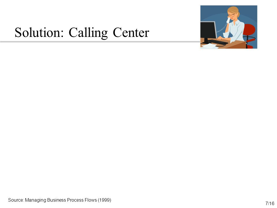 7/16 Solution: Calling Center Source: Managing Business Process Flows (1999)