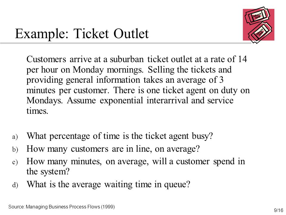 9/16 Example: Ticket Outlet Customers arrive at a suburban ticket outlet at a rate of 14 per hour on Monday mornings.