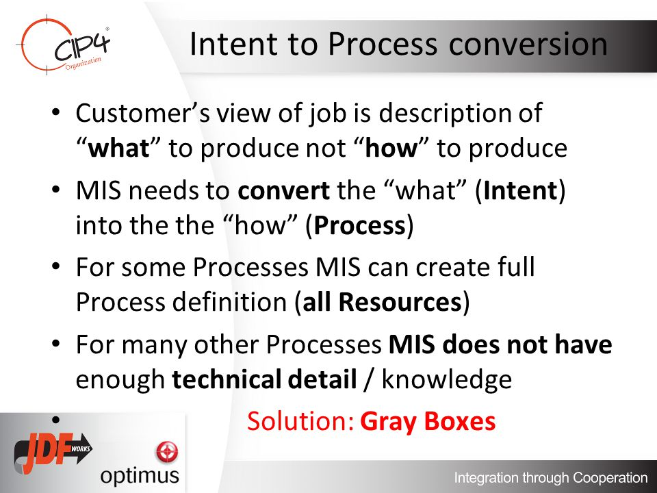 Intent to Process conversion Customers view of job is description ofwhat to produce not how to produce MIS needs to convert the what (Intent) into the the how (Process) For some Processes MIS can create full Process definition (all Resources) For many other Processes MIS does not have enough technical detail / knowledge Solution: Gray Boxes
