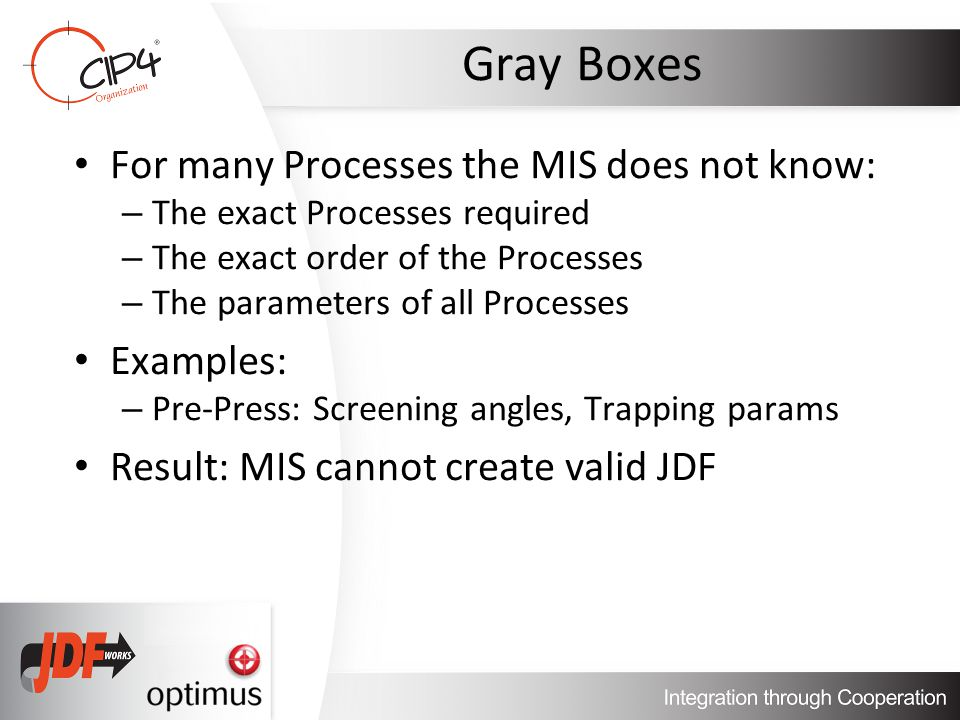Gray Boxes For many Processes the MIS does not know: – The exact Processes required – The exact order of the Processes – The parameters of all Processes Examples: – Pre-Press: Screening angles, Trapping params Result: MIS cannot create valid JDF