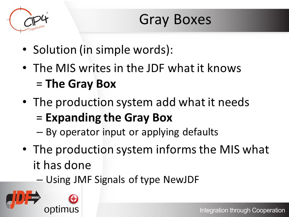 Gray Boxes Solution (in simple words): The MIS writes in the JDF what it knows = The Gray Box The production system add what it needs = Expanding the Gray Box – By operator input or applying defaults The production system informs the MIS what it has done – Using JMF Signals of type NewJDF