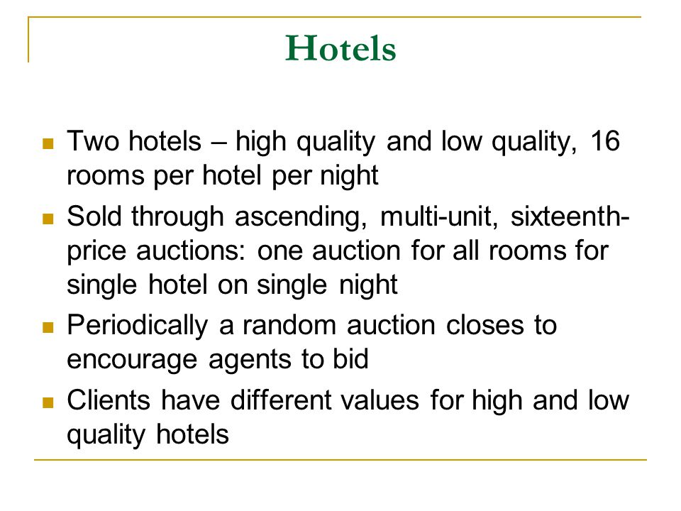 The high-level algorithm Denote the most profitable allocation of goods at any time by G* When first flight quotes are posted: Compute G* with current holdings and expected prices Buy the flights in G* for which the expected cost of postponing commitment exceeds the expected benefit of postponing commitment Starting 1 minute before each hotel close: Compute G* with current holdings and expected prices Buy the flights in G* for which expected cost of postponing commitment exceeds expected benefit of postponing commitment Bid hotel room expected marginal values given holdings, new flights, and expected hotel purchases Last minute: Buy remaining flights as needed by G* In parallel (continuously): Buy/sell entertainment tickets base on their expected values