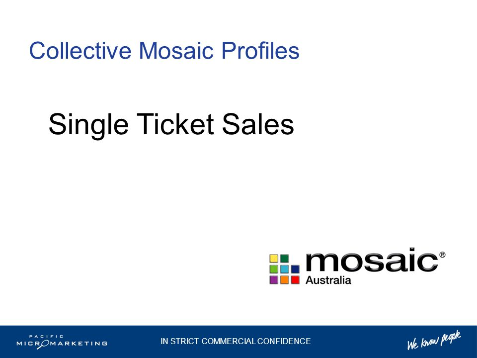 Collective Mosaic Profiles Single Ticket Sales IN STRICT COMMERCIAL CONFIDENCE
