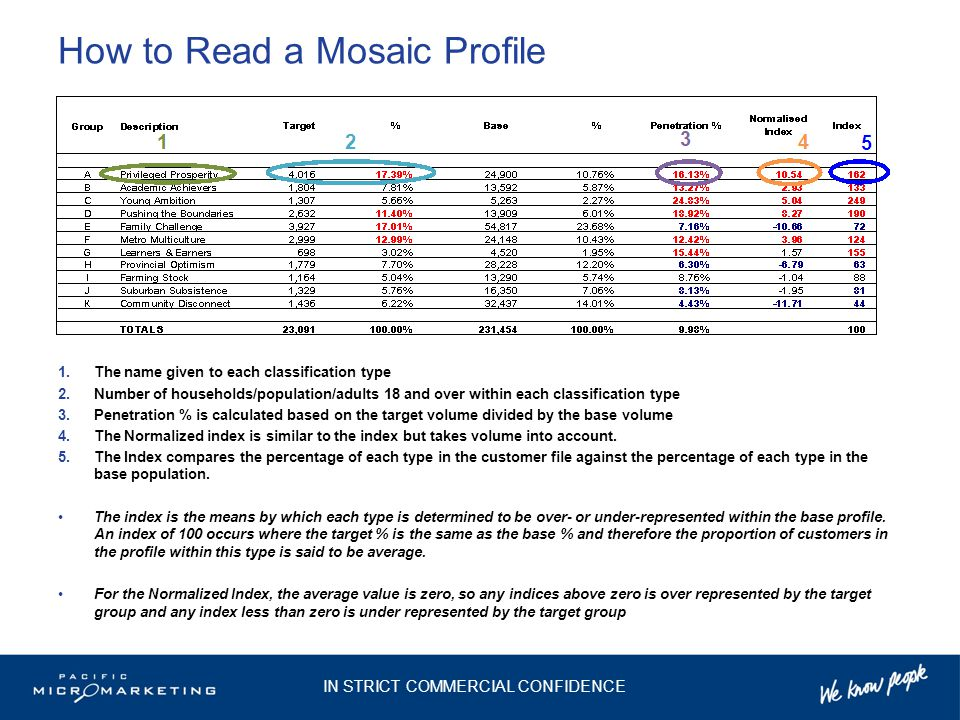 How to Read a Mosaic Profile 1.The name given to each classification type 2.Number of households/population/adults 18 and over within each classification type 3.Penetration % is calculated based on the target volume divided by the base volume 4.The Normalized index is similar to the index but takes volume into account.