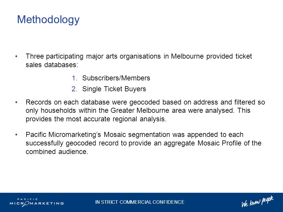 Methodology Three participating major arts organisations in Melbourne provided ticket sales databases: 1.Subscribers/Members 2.Single Ticket Buyers Re