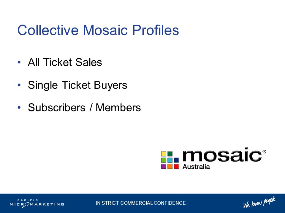 Collective Mosaic Profiles All Ticket Sales Single Ticket Buyers Subscribers / Members IN STRICT COMMERCIAL CONFIDENCE