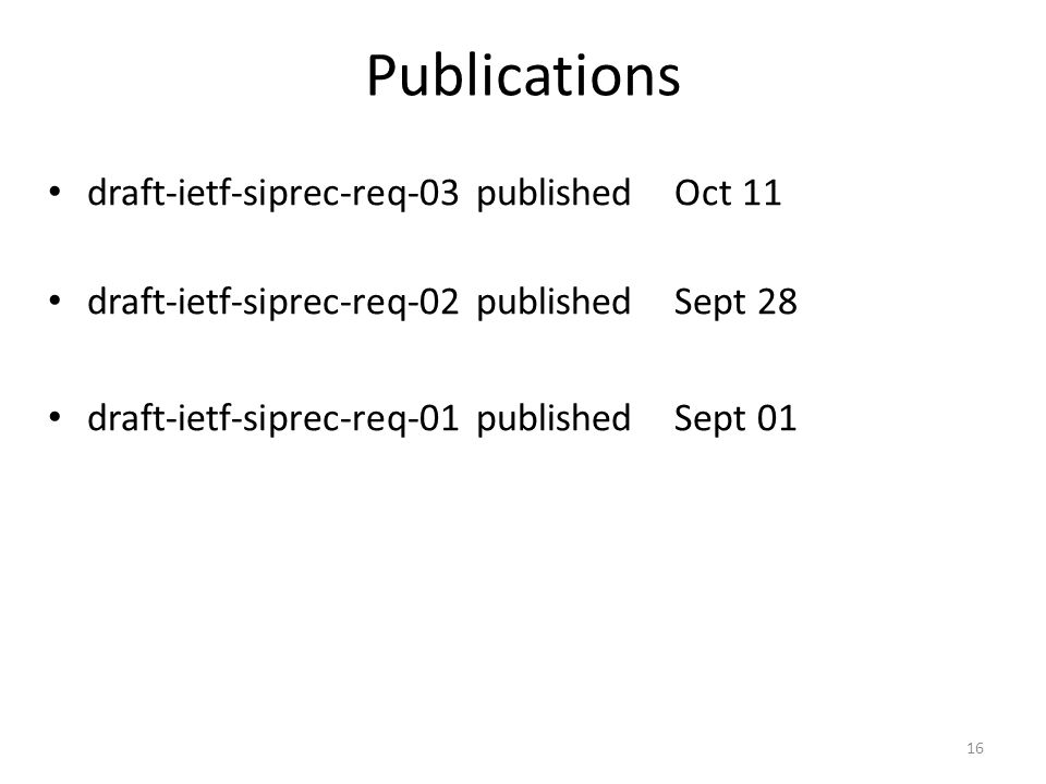 Publications draft-ietf-siprec-req-03 published Oct 11 draft-ietf-siprec-req-02 published Sept 28 draft-ietf-siprec-req-01 published Sept 01 16