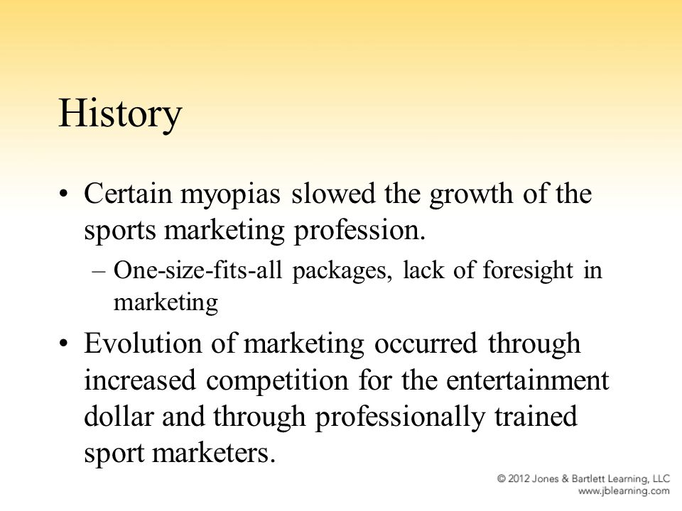 History Certain myopias slowed the growth of the sports marketing profession.