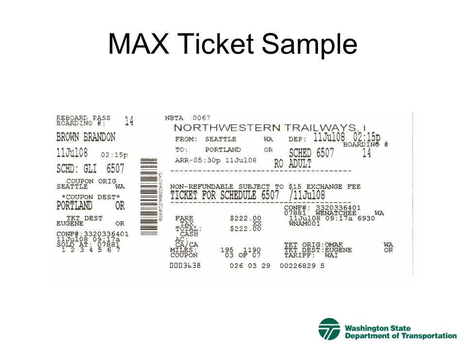 MAX Ticket Sample
