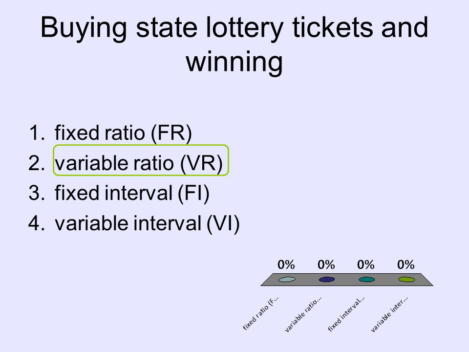 Buying state lottery tickets and winning 1.fixed ratio (FR) 2.variable ratio (VR) 3.fixed interval (FI) 4.variable interval (VI)