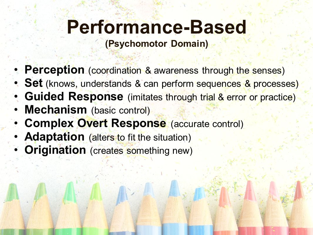 Performance-Based (Psychomotor Domain) Perception (coordination & awareness through the senses) Set (knows, understands & can perform sequences & processes) Guided Response (imitates through trial & error or practice) Mechanism (basic control) Complex Overt Response (accurate control) Adaptation (alters to fit the situation) Origination (creates something new)