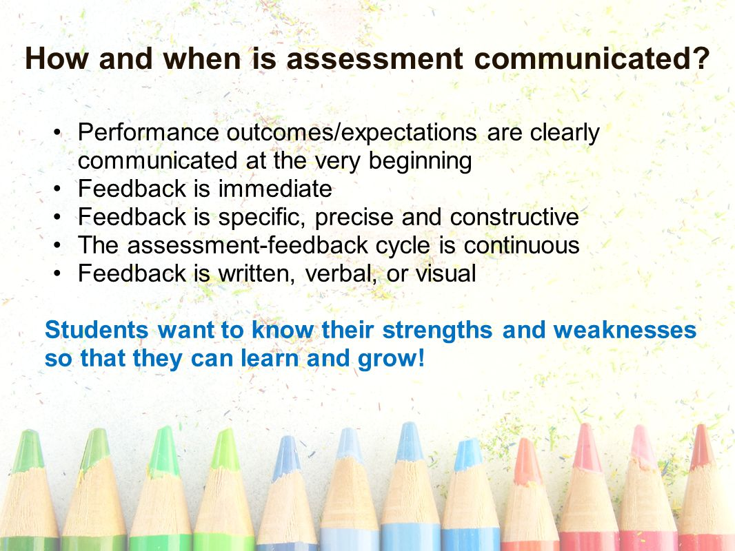 Performance outcomes/expectations are clearly communicated at the very beginning Feedback is immediate Feedback is specific, precise and constructive The assessment-feedback cycle is continuous Feedback is written, verbal, or visual Students want to know their strengths and weaknesses so that they can learn and grow.