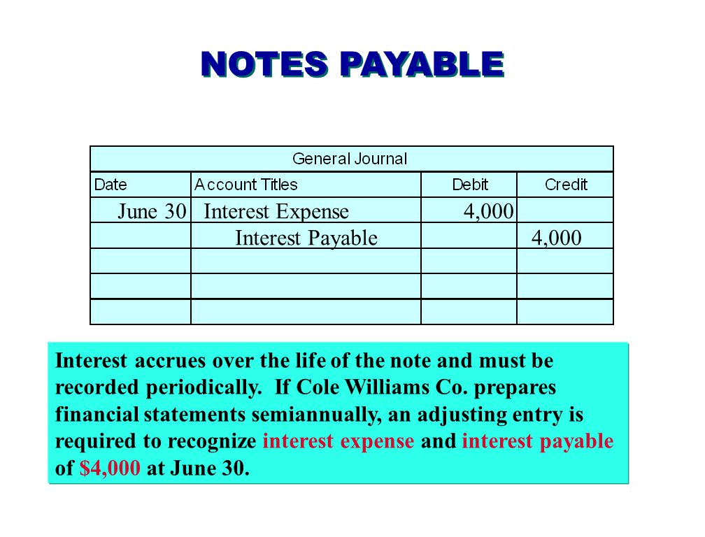 NOTES PAYABLE At maturity, Notes Payable is debited for the face value of the note, Interest Payable is debited for the amount of accrued interest, and Cash is credited for the maturity value of the note.