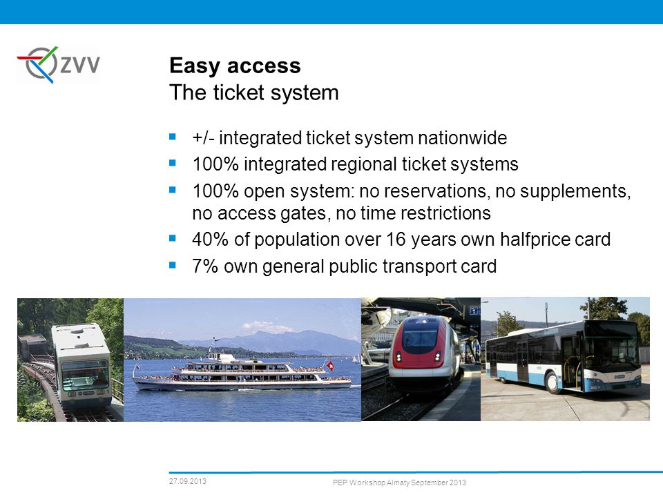 Easy access The ticket system +/- integrated ticket system nationwide 100% integrated regional ticket systems 100% open system: no reservations, no supplements, no access gates, no time restrictions 40% of population over 16 years own halfprice card 7% own general public transport card 27.09.2013 PEP Workshop Almaty September 2013