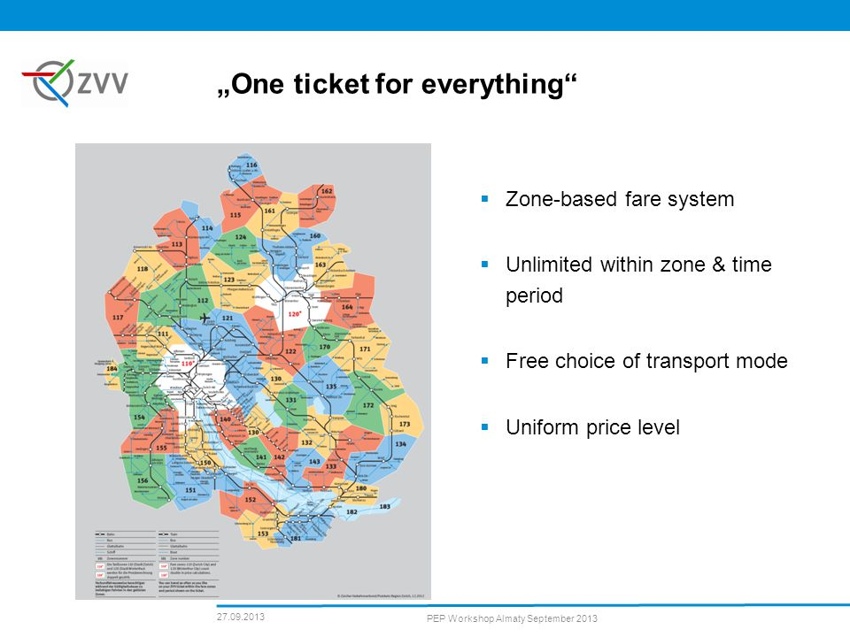 27.09.2013 PEP Workshop Almaty September 2013 One ticket for everything Zone-based fare system Unlimited within zone & time period Free choice of transport mode Uniform price level