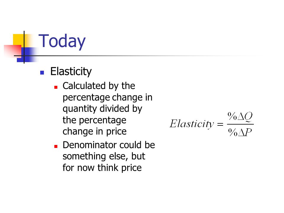 Today Elasticity Calculated by the percentage change in quantity divided by the percentage change in price Denominator could be something else, but for now think price