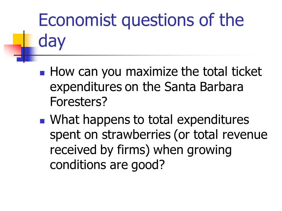 Economist questions of the day How can you maximize the total ticket expenditures on the Santa Barbara Foresters.