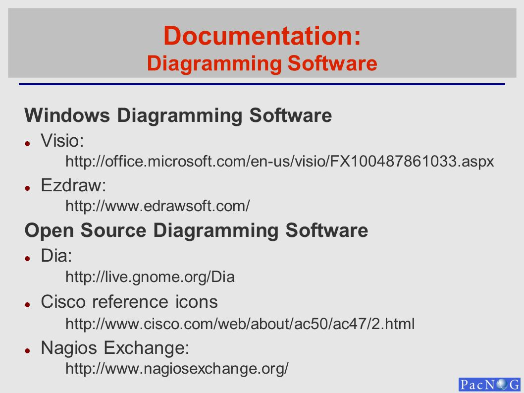 Documentation: Diagramming Software Windows Diagramming Software Visio: http://office.microsoft.com/en-us/visio/FX100487861033.aspx Ezdraw: http://www.edrawsoft.com/ Open Source Diagramming Software Dia: http://live.gnome.org/Dia Cisco reference icons http://www.cisco.com/web/about/ac50/ac47/2.html Nagios Exchange: http://www.nagiosexchange.org/