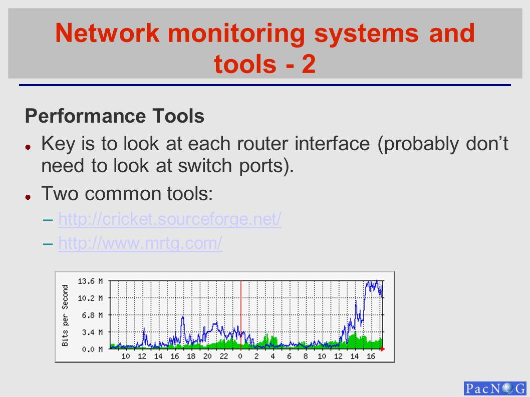 Network monitoring systems and tools - 2 Performance Tools Key is to look at each router interface (probably dont need to look at switch ports). Two c