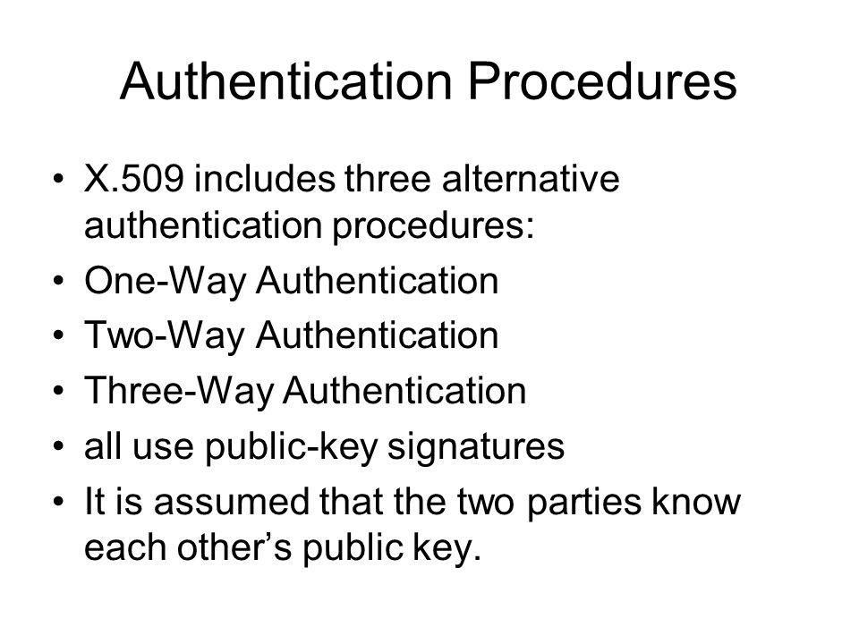 Authentication Procedures X.509 includes three alternative authentication procedures: One-Way Authentication Two-Way Authentication Three-Way Authenti